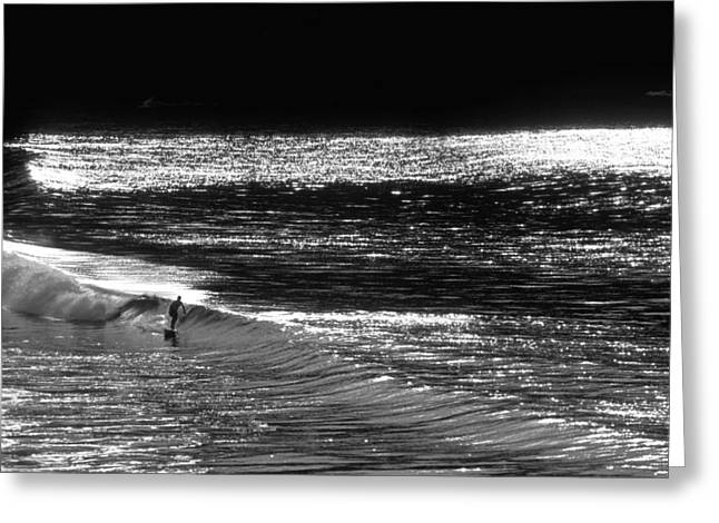 Surfer Art Photographs Greeting Cards - Solitary Glass Greeting Card by Sean Davey