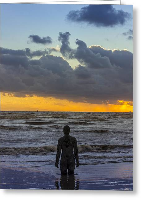 Ironman Greeting Cards - Solitary Iron Man at Crosby Beach Greeting Card by Paul Madden
