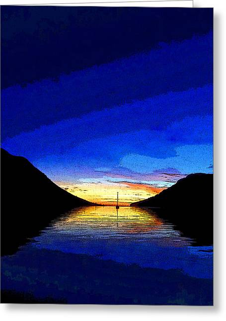 Boats In Reflecting Water Greeting Cards - Solitary Sailboat Sunrise Greeting Card by Anne Mott