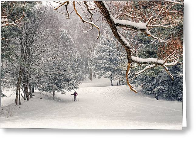 Solitary Activities Greeting Cards - Solitary Skier at Otis Ridge Greeting Card by Geoffrey Coelho