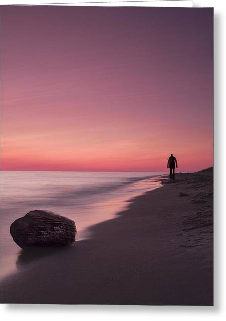 Beach Scenery Greeting Cards - Solitary Stroll Greeting Card by Andrew Soundarajan
