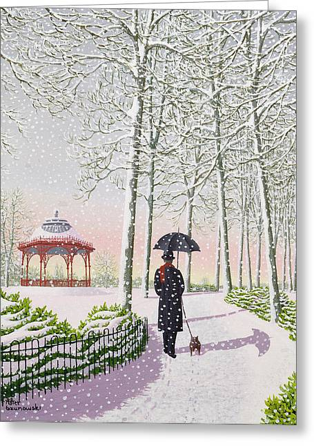Bandstand Greeting Cards - Solitary Stroll Greeting Card by Peter Szumowski
