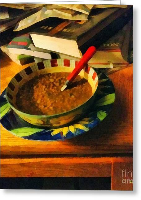 Supper Bowl Greeting Cards - Solitary Supper Greeting Card by RC DeWinter