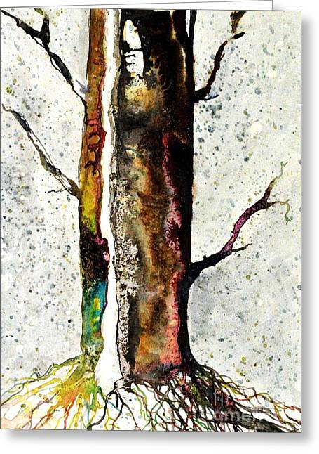 Tree Roots Drawings Greeting Cards - Solitary Tree iii Greeting Card by JM Brannigan
