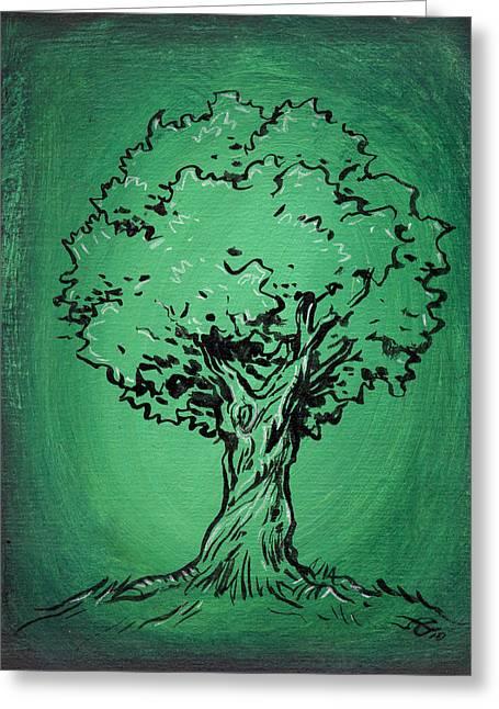 Solitary Tree In Green Greeting Card by John Ashton Golden