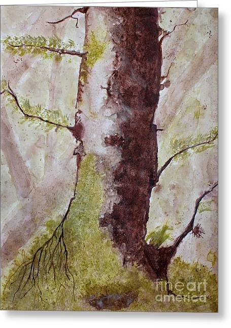 Moss Green Drawings Greeting Cards - Solitary Tree Greeting Card by JM Brannigan