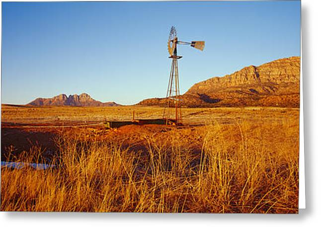 S Landscape Photography Greeting Cards - Solitary Windmill In A Field, U.s Greeting Card by Panoramic Images