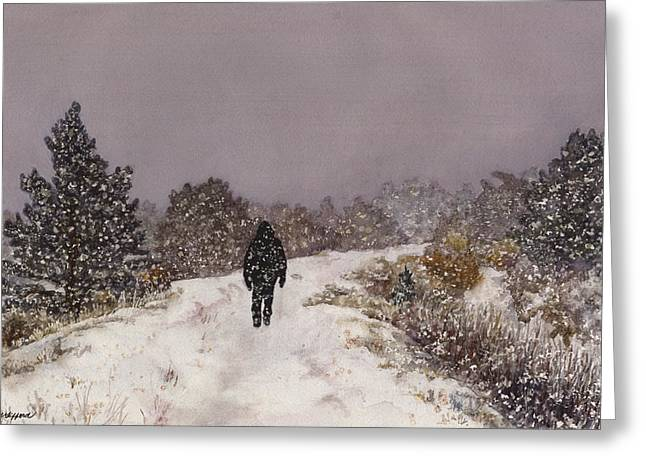 Snowy Day Greeting Cards - Solitude Greeting Card by Anne Gifford