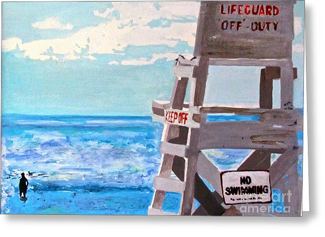 Surf Silhouette Paintings Greeting Cards - Solitude Greeting Card by Beth Saffer