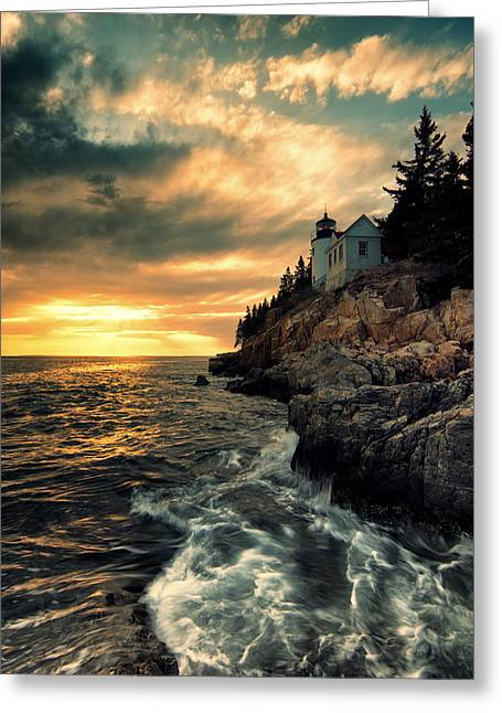 Bass Harbor Lighthouse Greeting Cards - Solitude Greeting Card by Chad Tracy