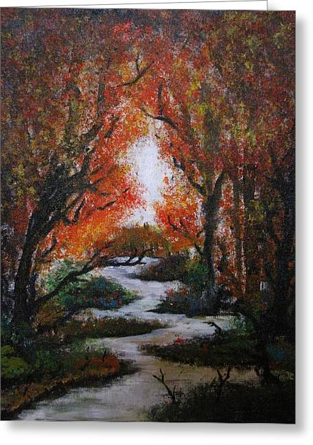 Fall Trees With Stream. Greeting Cards - Solitude Greeting Card by Erik Coryell