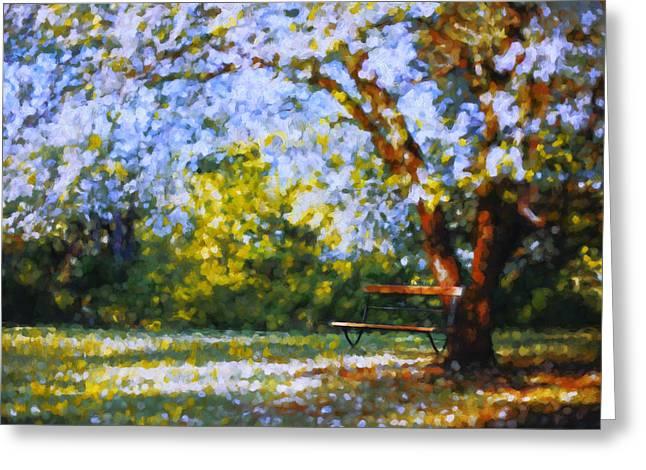 Solitude Mixed Media Greeting Cards - Solitude Garden Greeting Card by Georgiana Romanovna