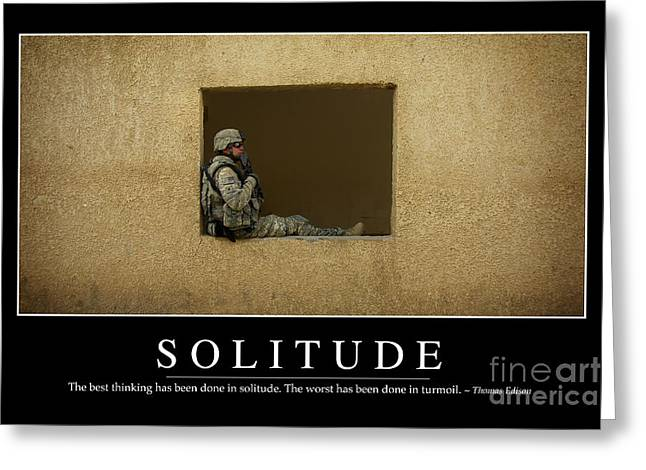 Holding Gun Greeting Cards - Solitude Inspirational Quote Greeting Card by Stocktrek Images