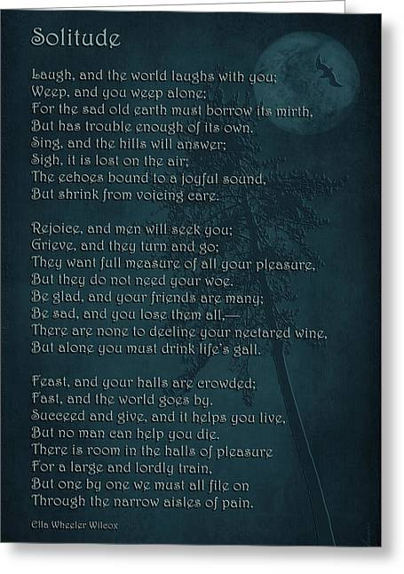Dark Poems Greeting Cards - Solitude Greeting Card by Maria Angelica Maira