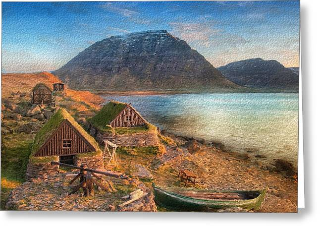Mountain Cabin Mixed Media Greeting Cards - Solitude Greeting Card by Steven Moore