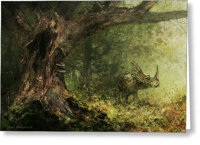 Triceratops Digital Art Greeting Cards - Solitude - Styracosaurus Greeting Card by Angie Rodrigues
