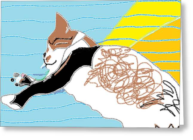 Afternoon Drawings Greeting Cards - Solo Blue Blanket Greeting Card by Anita Dale Livaditis