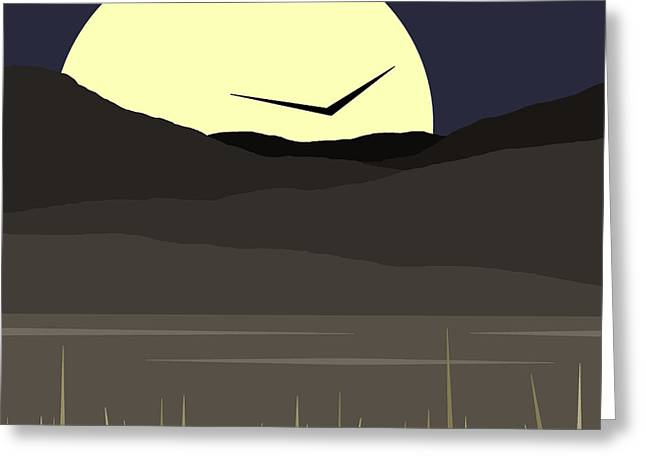 Minimalist Landscape Greeting Cards - Solo Flight Greeting Card by Val Arie