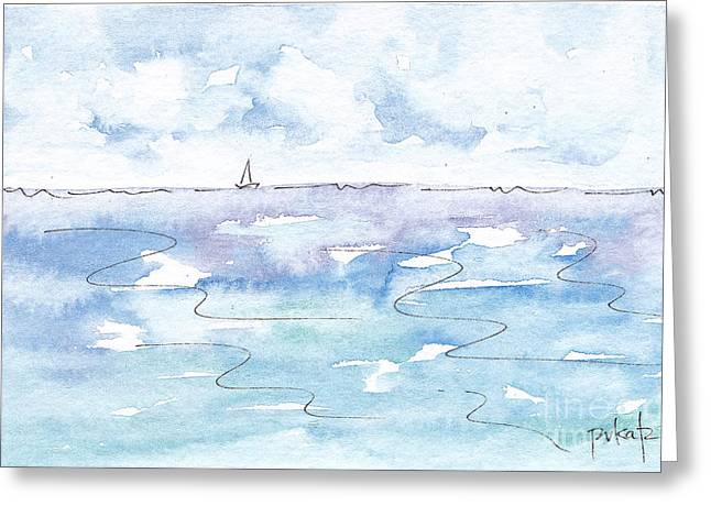 Viridian Greeting Cards - Solo Sailboat Cloudy Skies Greeting Card by Pat Katz