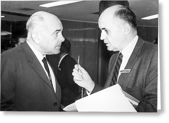 Expert Greeting Cards - Soloviev and Hilleman at a conference Greeting Card by Science Photo Library
