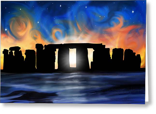 Solstice Greeting Cards - Solstice at Stonehenge  Greeting Card by David Kyte
