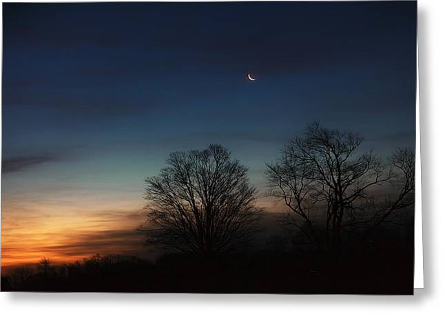 Winter Solstice Greeting Cards - Solstice Moon Greeting Card by Bill  Wakeley