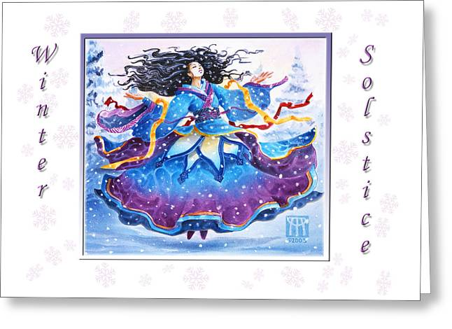 Winter Solstice Greeting Cards Greeting Cards - Solstice Snowfall Greeting Card by Melissa A Benson