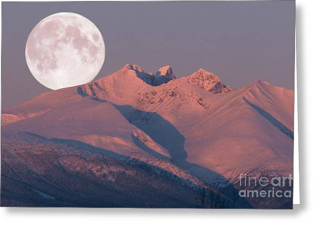 Canadian Photographer Paintings Greeting Cards - Solstice Sunrise Alpenglow Full Moon Setting Greeting Card by Stanza Widen