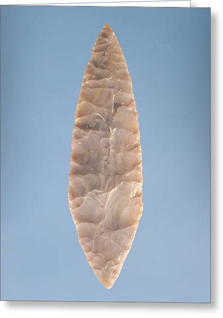 Stone Age Greeting Cards - Solutrean Laurel Leaf Blade, Found At Volgu, 20000-15000 Bc Stone Greeting Card by Paleolithic