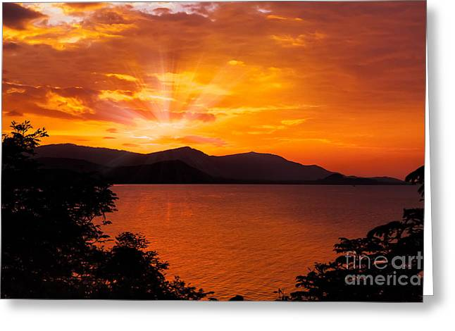 Koh Samui Greeting Cards - Som Island Sunset Greeting Card by Adrian Evans