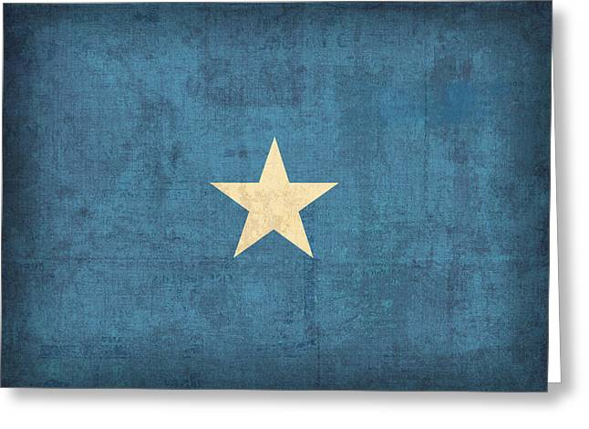Somalia Flag Vintage Distressed Finish Greeting Card by Design Turnpike