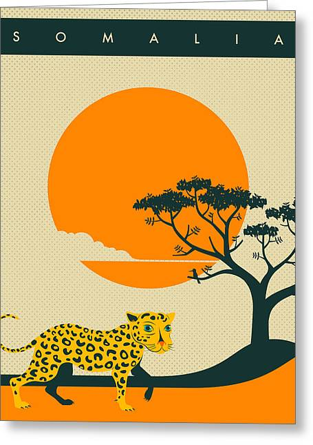 Sunset Posters Greeting Cards - Somalia Travel Poster Greeting Card by Jazzberry Blue