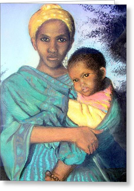 Mother And Child Greeting Cards Greeting Cards - Somalian mother with child Greeting Card by Barbara Jacquin