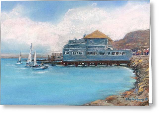 San Francisco Bay Pastels Greeting Cards - Somas Restaurant  Greeting Card by Hilda Vandergriff