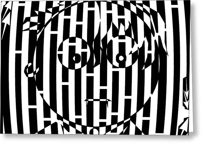 Somber Long Bangs One Earing Maze  Greeting Card by Yonatan Frimer Maze Artist