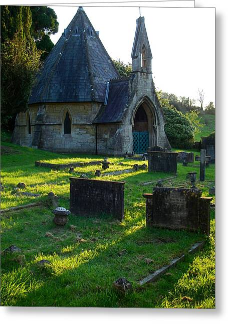 Geobob Greeting Cards - Somber Mood and Silhouette of Saint Mary the Virgin Chapel Bathwick Smallcombe Bath Somerset England Greeting Card by Robert Ford