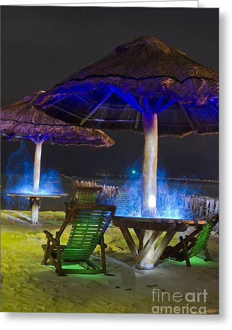 Beach At Night Greeting Cards - Sombras De Colores Greeting Card by Agus Aldalur