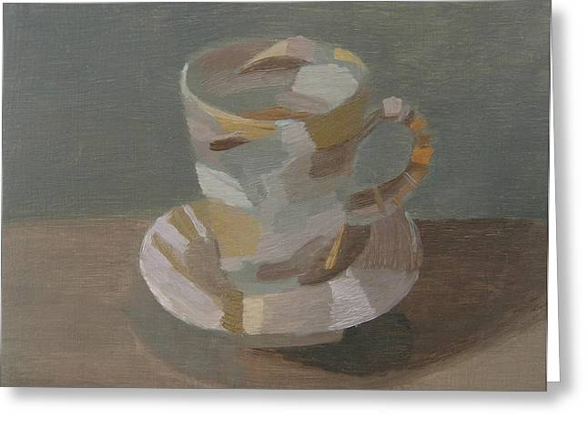 Tea Cup Greeting Cards - Sombre Cup Greeting Card by Mary Mabbutt