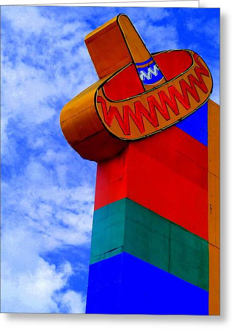 Tourist Trap Greeting Cards - Sombrero Sign Greeting Card by Randall Weidner