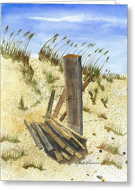 Sand Fences Paintings Greeting Cards - Some Beach Greeting Card by Robert  ARTSYBOB Havens
