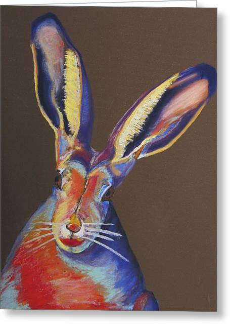 Lipstick Pastels Greeting Cards - Some Bunnie with Lipstick Greeting Card by Holly Wright