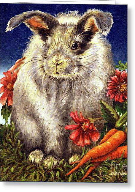 Fur Balls Greeting Cards - Some Bunny is a Fuzzy Wuzzy Greeting Card by Linda Simon