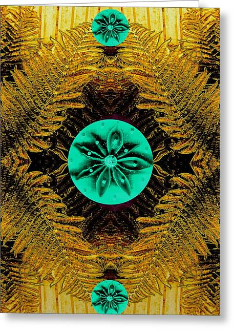 Spice Mixed Media Greeting Cards - Some Green stars In The Yellow Greeting Card by Pepita Selles