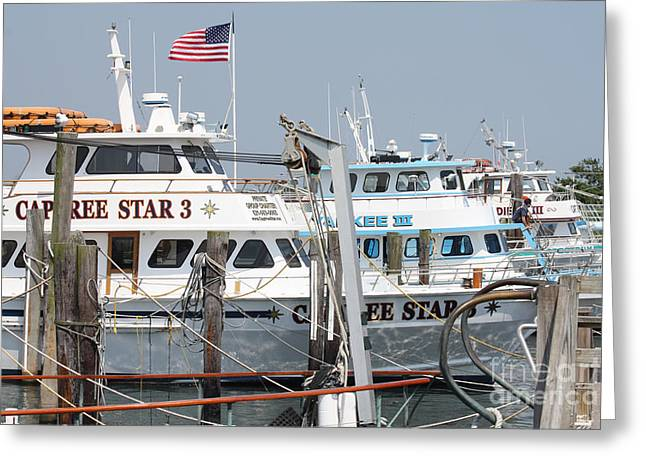 Slip Ins Greeting Cards - Some Of The Captree Fishing Boat Fleet Greeting Card by John Telfer
