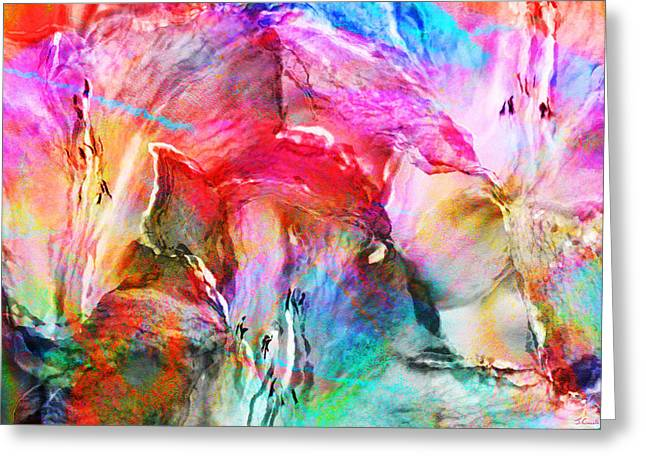 Abstract Art On Canvas Greeting Cards - Somebodys Smiling - Abstract Art Greeting Card by Jaison Cianelli