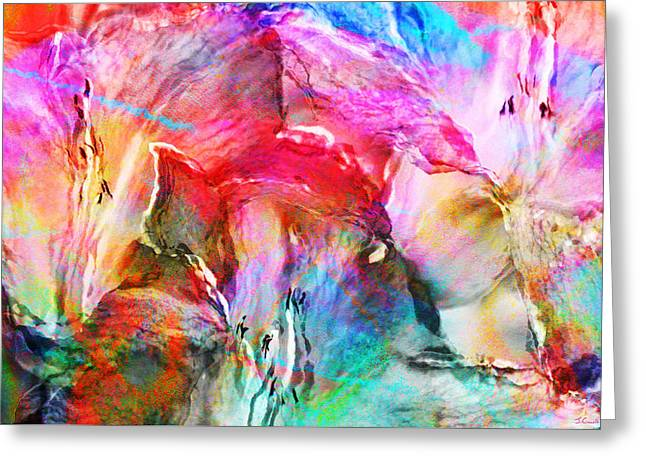 Print On Canvas Greeting Cards - Somebodys Smiling - Abstract Art Greeting Card by Jaison Cianelli