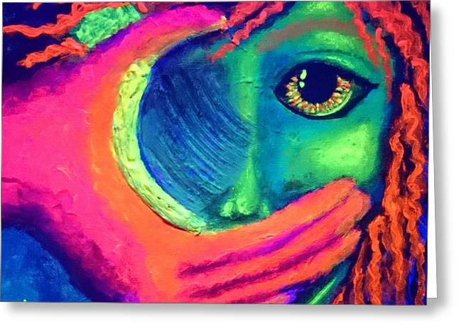 Sokolovich Paintings Greeting Cards - Someday blacklight Greeting Card by Ann Sokolovich
