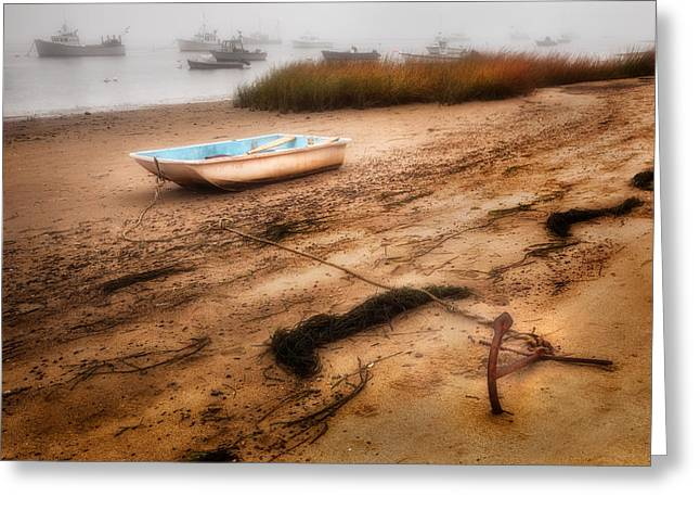 Foggy Beach Greeting Cards - Someday my ship will come in Greeting Card by Bill  Wakeley