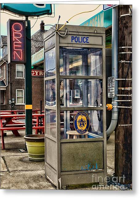Repurposed Greeting Cards - Someone Call the Police Greeting Card by Paul Ward