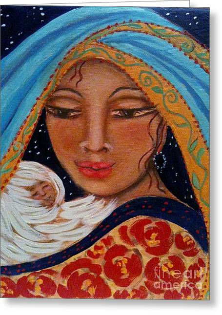 Christ Child Mixed Media Greeting Cards - Someone To Watch Over Me Greeting Card by Maya Telford